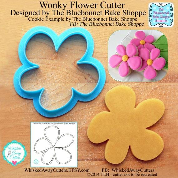 Wonky Flower Cookie Cutter & Fondant Cutter Designed by The Bluebonnet Bake Shoppe - **Guideline Sketch to Print Below**