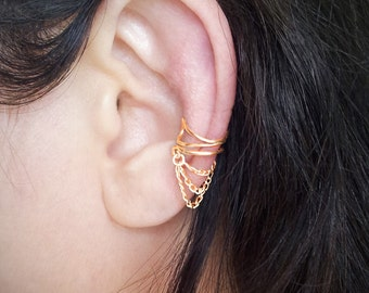 Gold Chain Ear Cuff  Gold plated Chain Ear Wrap