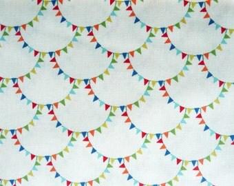 Bunting Fabric, Michael Miller CX4827 Mini Mikes Bunting Scallop Cream, Bunting Quilt Fabric, Childrens Fabric, Nursery Decor Fabric, Sa;e