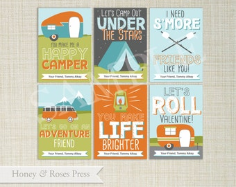 Camping Valentine's Day Cards . Camper Valentines . Kids Valentines Cards. Boy Scouts Printable Valentines . Instant Download
