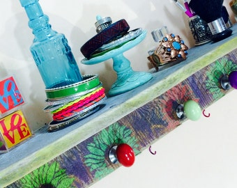 Pallet wood hanging shelf /floating shelves /reclaimed wood decor shelving /jewelry storage wall makeup organizer stenciled flowers 5 knobs