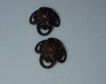Antique Copper Flower Bead Caps 8.5 x 6mm 50pcs