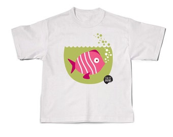 Child pink fish t-shirt sleeve short 100% cotton