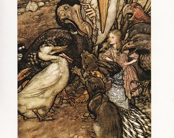 Alice's adventures in Wonderland Pool of Tears fine art print Arthur Rackham vintage illustration Lewis Carroll home decor 8.5x11.5 inches