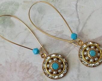 Crystal Rhinestone Earrings Swarovski Crystal Earrings Art Deco Earrings Elegant Earrings Long Drop Earrings Crystal Earrings