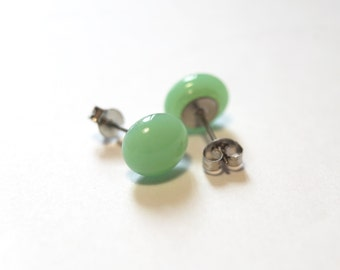 Nile Green Glass Stud Earring on Titanium Posts