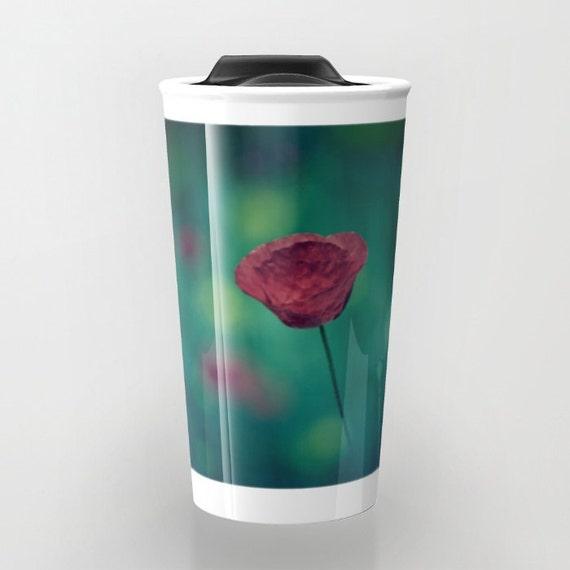 Ceramic Travel Mug Travel Coffee Mug Red Poppy Coffee Cup