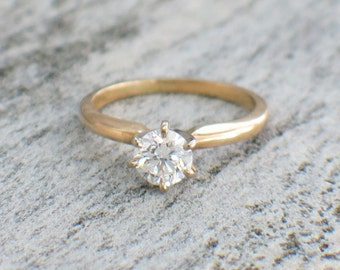 14K Yellow Gold Round Brilliant Solitaire Engagement Ring