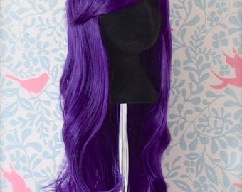 Long Wavy Hot Violet Purple Wig 70cm
