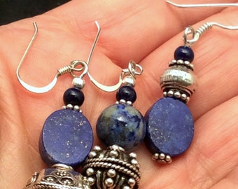 9 different Blue Lapis Earrings. Sterling Silver.  free US ship