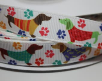 5/8 Dachshund Dog Print Ribbon Grosgrain Ribbon by the Yard for Hairbows, Scrapbooking, and More!!