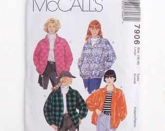 McCall's Misses' Lined or Unlined Jacket Sewing Pattern #7906 - UNCUT - Size Large (16+18)