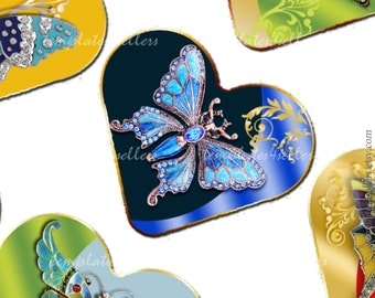 Digital Collage Sheet Butterfly 1 inch heart shape images  Original  Printable 4x6 inch sheet Scrapbooking  Jewelry Making 287