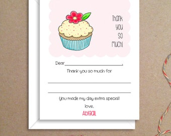 Fill-in Thank You Notes - Cupcake Flat Notes - Childrens Thank You Cards- Illustrated Note Cards