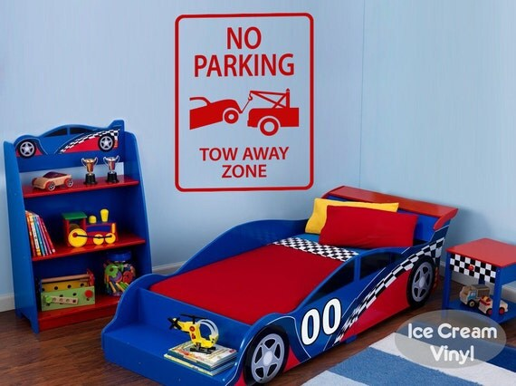 No Parking Sign Wall Decal for Playroom Nursery Tow Away Zone Car Truck Vinyl Decal Boys Room Childrens Decor