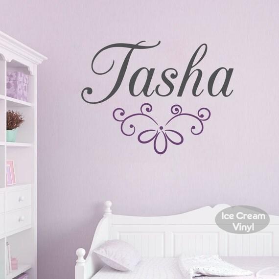Name Wall Decal with Elegant Name for Girls Nursery Bedroom Children Decor Vinyl Lettering