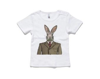 Dapper Rabbit Baby T-Shirt by RockPaperHeart in white wild animal sketch art kids tee hare bunny