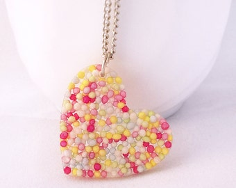 Heart Necklace - Sprinkles Pendant - Valentines Gift - Love Necklace - Heart Jewelry - Resin - Girlfriend Gift - Christmas Gifts