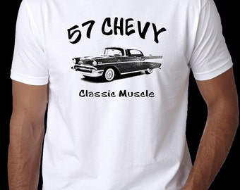 57 Chevy Vintage Car T-Shirt - Classic Chevrolet Muscle Racing Car Shirt