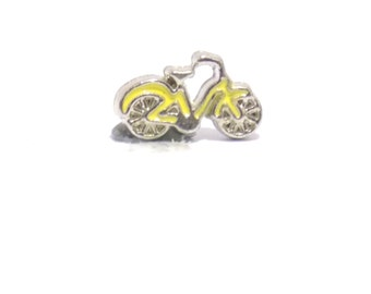 Bike charm, yellow bike charm, living memory charm, floating charm, bicycle charm, yellow bike, locket charm, necklace charm, tiny charm