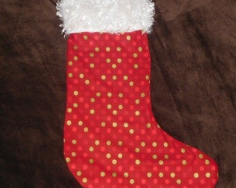 Red polka dotted christmas stocking