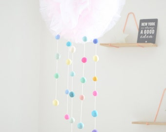 Mobile tulle and felted wool balls, baby shower gift, baby, baby mobile, birth gift
