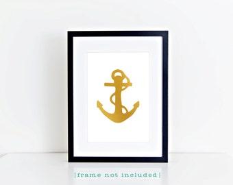 Gold Anchor Typography Print White Nautical Coastal Ocean Beach House Cottage Decor Home Decor Wall Art