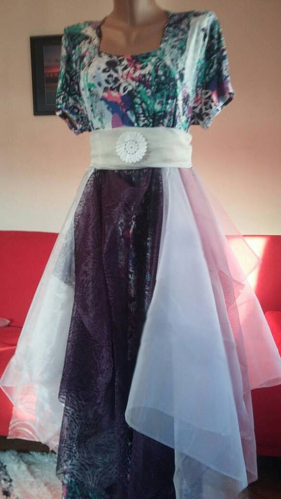 Boho combed purple dress/gypsy bridesmaid/butterfly casual/upcycled clothing/birthday party dress