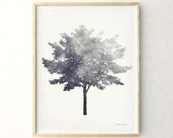 Tree print Black and white print, 11x14 Living room decor Wall print, Tree art Nature print, Gray art Gray wall decor Printable print poster