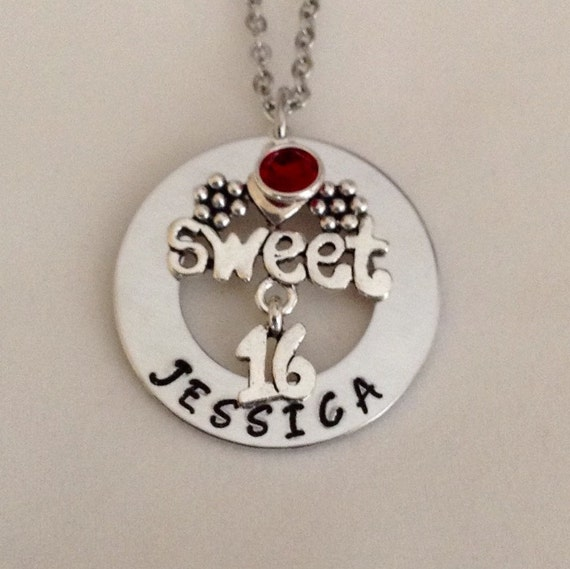 Sweet 16 Necklace 16th Birthday Teenager Necklace By