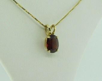 Small Garnet Solitaire Pendant, 14 K Gold