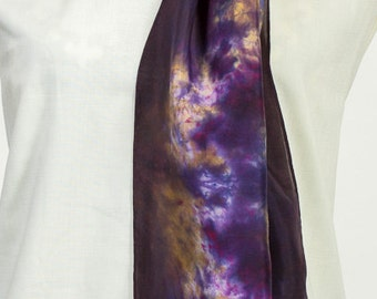 100% Silk Scarf in purple with a touch of marigold & white