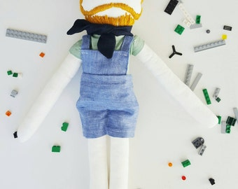 Handmade doll men-cute doll-cotton doll-hipster doll-beared toy-custom doll-orange hair-christmas gift-birthday-blue jeans-original toy-men