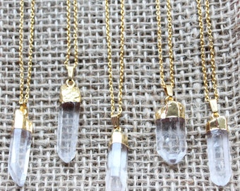 """Raw Clear Crystal Quartz with Gold Dipped Cap Pendant Necklace on Gold filled Chain of Choice, 28"""" + Lobster Clasp"""