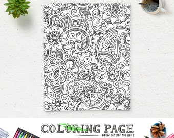 Adult Floral Coloring Page Printable Paisley Book AntiStress Art Therapy Instant Download Zen
