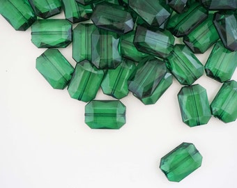 Emerald Green Faceted Acrylic Jelly Style Beads