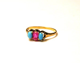 Victorian Gold Ring with Turquoise and Ruby Stones, Persian Turquoise 10k Gold Antique Ring, Size 8