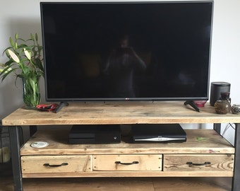industrial chic reclaimed wood tv stand media unit with 3 drawers steel and wood metal