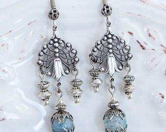 Blue Boho Earrings,  Bohemian Silver Earrings, Silver Gemstone Dangle Earrings, Jewelry Gift Me, Boho Jewelry Gift Ideas, Wife Jewelry Gift