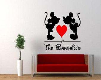 Vinyl Kissing MIckey U0026 Minnie Mouse Wall Decal, Vinyl Disney Decal, Vinyl  Family Wall