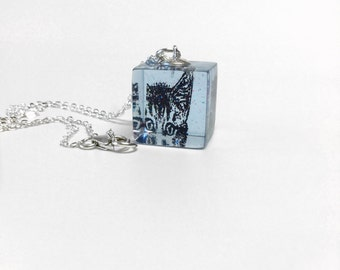 Cute kitten face pendant sterling silver necklace, high quality blue glittery resin cube, girls jewelry