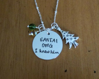 Christmas Elf necklace. Santa Necklace. SANTA! OMG I know him! Hand stamped. Holiday necklace. Funny Christmas Gift. Secret Santa Gift.