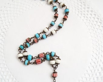 Beaded Y Necklace with Stones Rosary Necklace Long Y Necklace Boho State Necklace Rosary Style Gypsy Boho Jewelry Fun Necklace Funky Jewelry