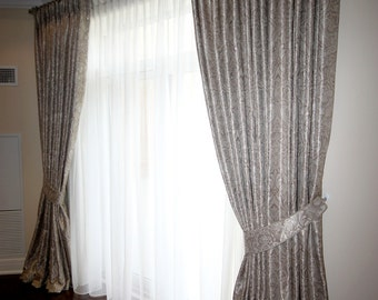 "Custom Drapes ""Amanda"", Pinch Pleated top, floral patterned drapes, Drapery Panels, Made-to-Order"
