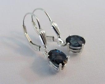 London Blue Topaz Earrings, Sterling Silver Leverback, 7x5mm London Topaz Gemstone,December Birthstone,Topaz Earrings