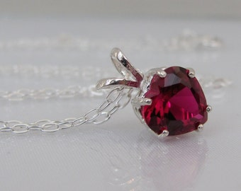 Ruby Heart Necklace, July Birthstone, Ruby Pendant, Birthstone Gift, Ruby Jewelry, Valentine Gift, Heart Jewelry, Lab Grown, Ruby Gemstone