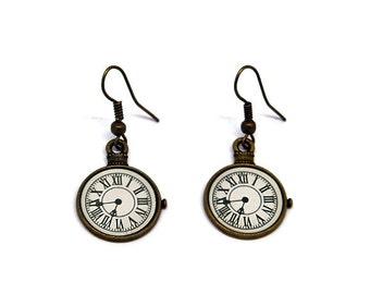 Pocket Watch Earrings // Bronze // Steampunk // Alternative // Clock