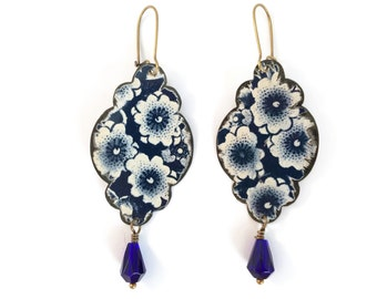 Recycled Tin Earrings, Blue and White Floral Boho Dangle Earrings with Beads, Vintage Style