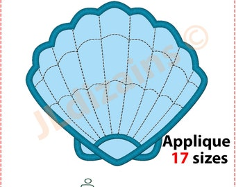 Sea Shell Applique Design. Sea Shell embroidery design. Seashell embroidery design. Seashell applique design. Machine embroidery design.