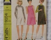 Vintage McCall's No. 9104 Size 10 Junior Jumper, Dress and Blouse Sewing Garment Pattern, 1967, Uncut 60s retro, FREE SHIPPING in US